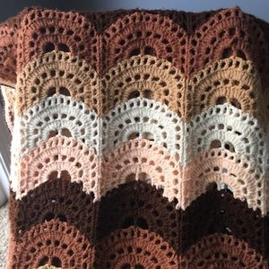 Scallop Handmade Crochet Large Afghan Brown Sugar